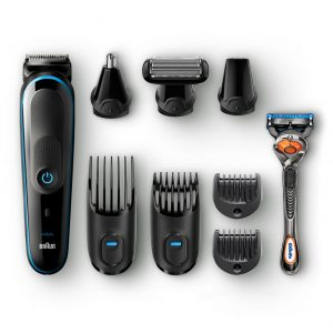 Braun Mens All-In-One Trimmer MGK5080, 9-in-1 Trimmer, 7 Attachments and Gillette Fusion5 ProGlide Razor