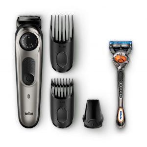 Beard trimmer BT5060 with precision dial, 3 attachments and Gillette Fusion5 ProGlide razor.