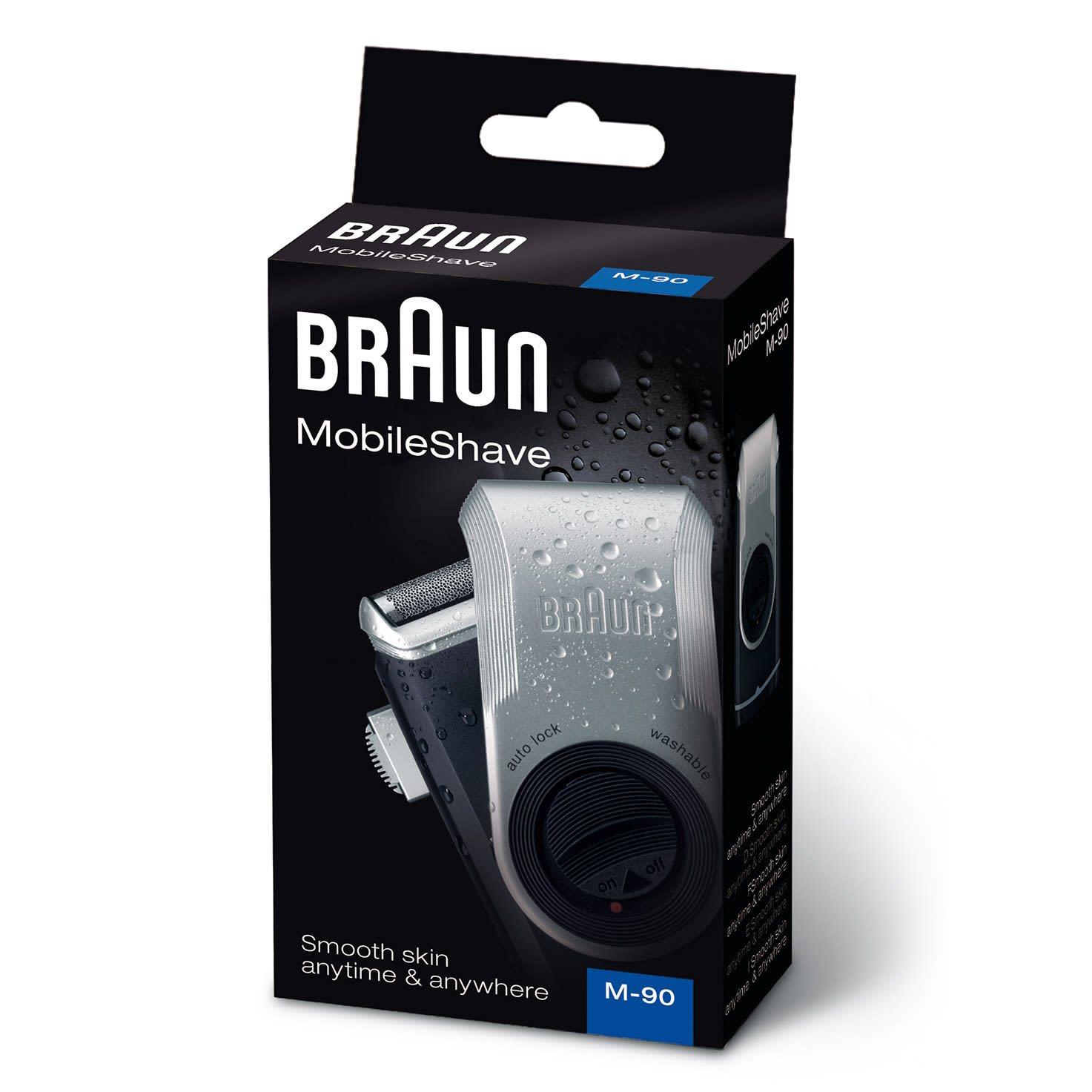 Braun MobileShave M-90 Mens Shaver (Dark Blue/Silver)