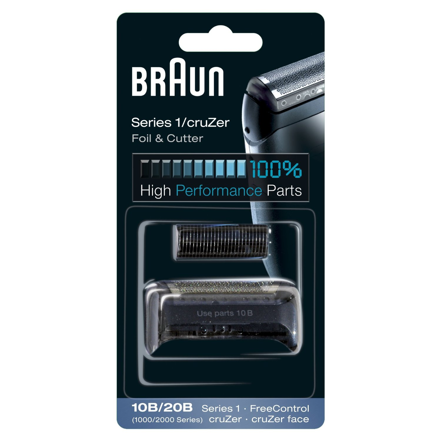 Braun Series 1 Replacement Shaver Head Cassette, 10B, Black